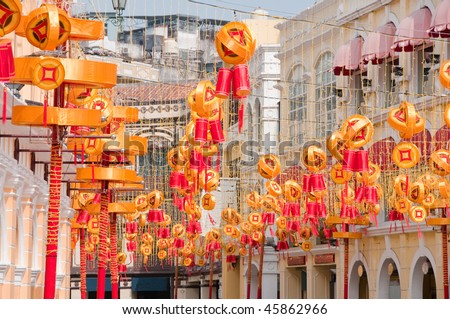 Chinese New Year festival decorations put up in Senado Square
