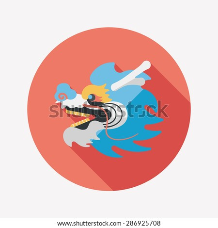 Chinese New Year flat icon with long shadow,The dragon and