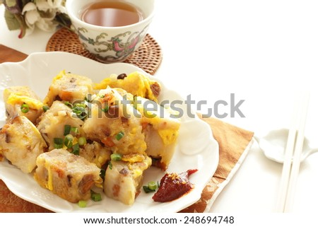 Chinese new year food, fried turnip cake - stock photo