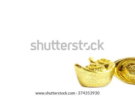 Chinese new year gold ingots, isolated on white background (put on corner to apply for background / wallpaper) - stock photo