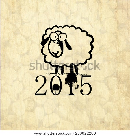 Chinese New Year greeting card with symbol of 2015 - cute drawing sheep and with wood background. - stock photo