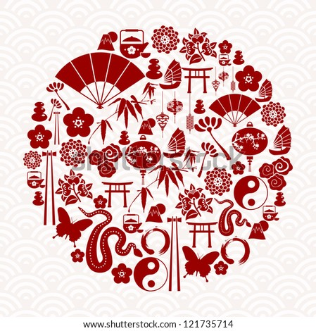 Chinese New Year of the Snake icon set globe composition. - stock photo
