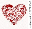 Chinese New Year of the Snake icon set heart composition background. - stock photo