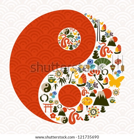 Chinese New Year of the Snake yin yang symbol composition. - stock photo