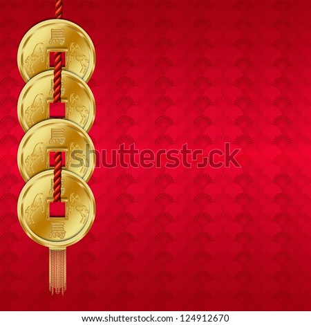 Chinese New Year - Year Of The Horse Background / Greeting Card - stock photo