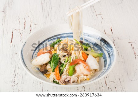 chinese noodles with chopstick - stock photo