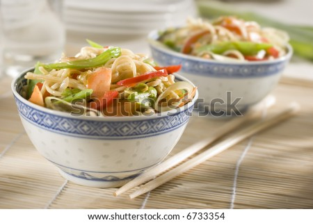 Chinese noodles with vegetables close up shoot - stock photo