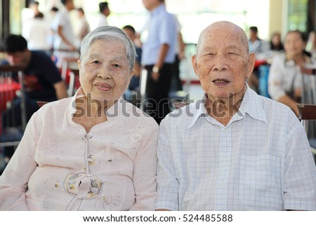 chinese old man couple