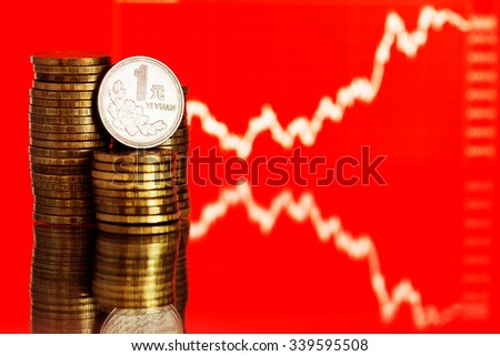 Chinese One Yuan Coin and gold money. Fluctuating graph on red background. Rate of the Chinese Yuan (shallow DOF)  - stock photo