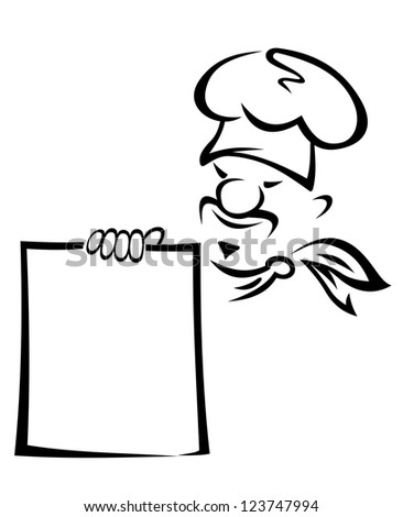 Chinese or japanese chef with blank menu. Vector version also available in gallery - stock photo