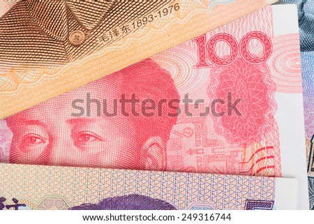 Chinese or 100 Yuan banknotes money  from China's currency, close up view as background - stock photo