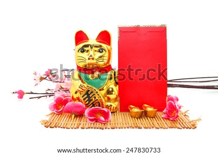 Chinese oriental lucky cat figure with red packet,gold ingot, Plum Flowers isolated on white