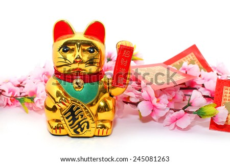 "Chinese oriental lucky cat figure with red packet (with Chinese character ""fu"" means fortune) and Plum Flowers isolated on white"