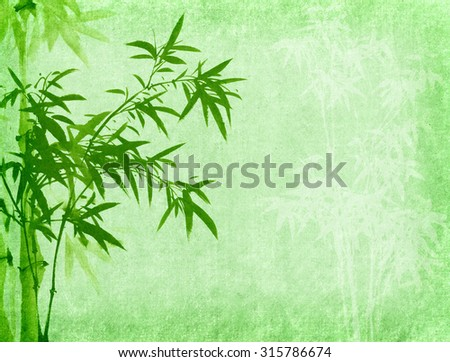 chinese painting Bamboo on old Paper Background