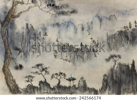 Chinese painting mountains and pine - stock photo
