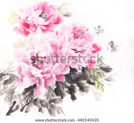 Chinese painting of peony flower,Traditional ink and wash drawing. - stock photo