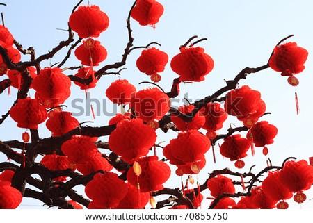 chinese paper lantern - stock photo