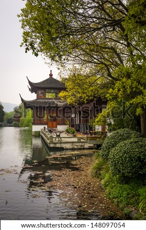 Chinese park at West Lake of Hangzhou