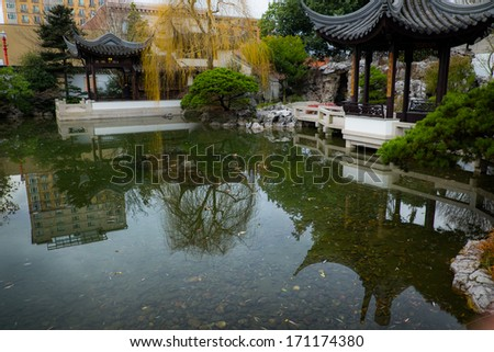 Chinese park in Portland, Oregon.  This park is right in the middle of the city.  It is a place of tranquility amidst the rush. - stock photo