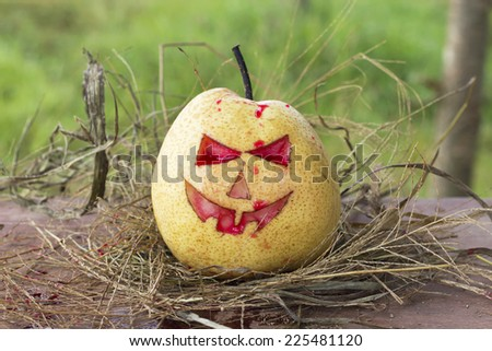 Chinese pear for halloween - stock photo