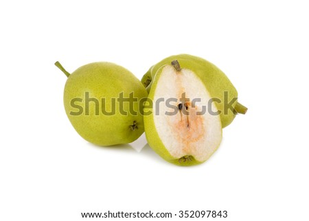Chinese pear with stem on white background
