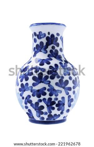 Chinese Porcelain Vase on White Background - stock photo