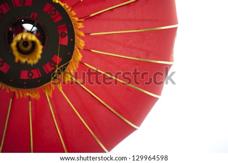 Chinese red lantern from low point of view - stock photo