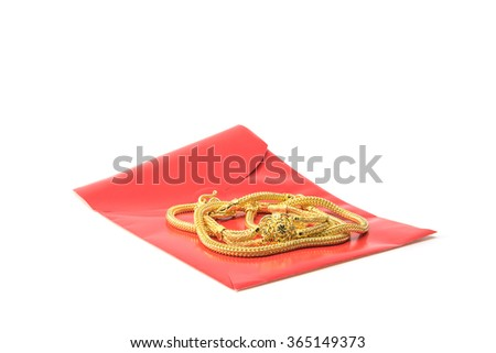 Chinese red pockets and neck lace gold  for Chinese new year