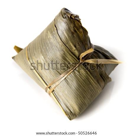Chinese Rice Dumpling on white background. - stock photo