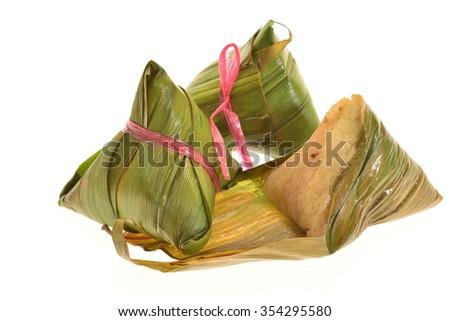 Chinese Rice Dumplings Isolated On White Background - stock photo