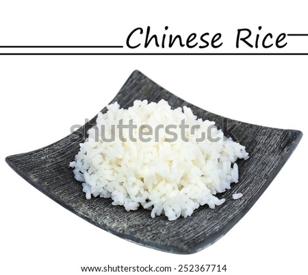 Chinese rice on plate isolated on white and space for your text - stock photo