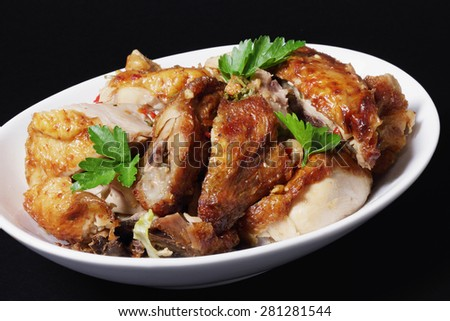 Chinese Roast Chicken on Black Background - stock photo
