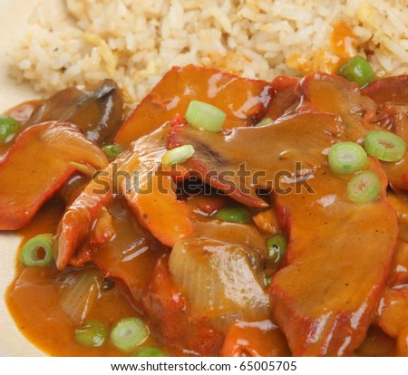 Chinese Roast Pork Curry With Egg Fried Rice