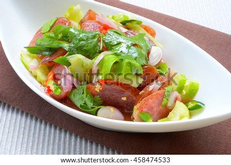Chinese Sausage Salad ,Thai style food