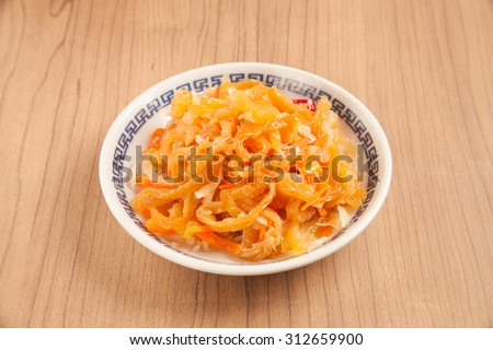 Chinese seafood cuisine. Jellyfish salad      - stock photo