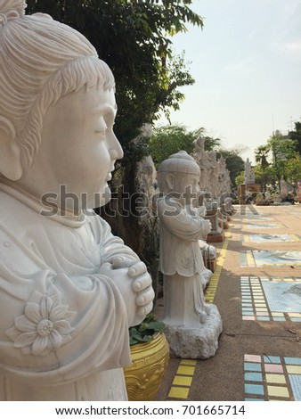 Chinese shrine with Statues  Deity in the garden