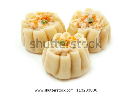 Chinese shumai on a white background - stock photo