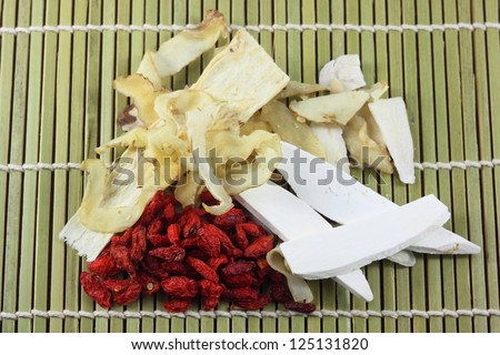 chinese spices,herbs on bamboo ware - stock photo