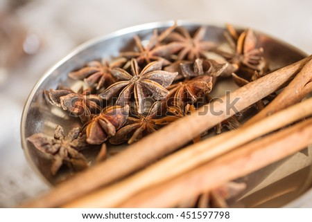 Chinese star anise with Cinnamon Herbal for Medical and Flavor Food Ingredient. - stock photo