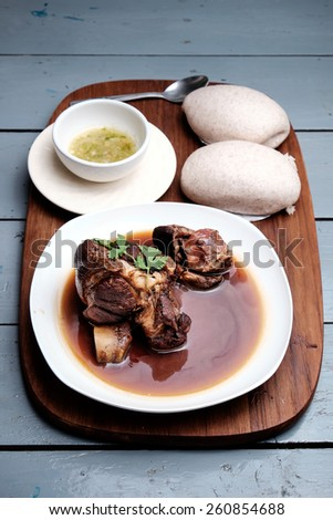 Chinese steamed bun with pork leg stewed - stock photo