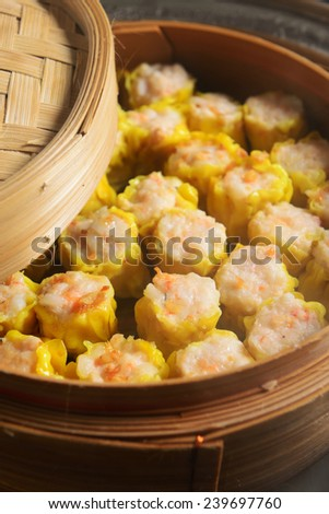 Chinese steamed dimsum in bamboo - stock photo