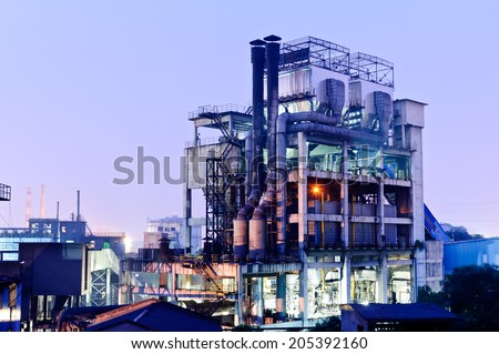 Chinese steelworks Industrial building at night - stock photo