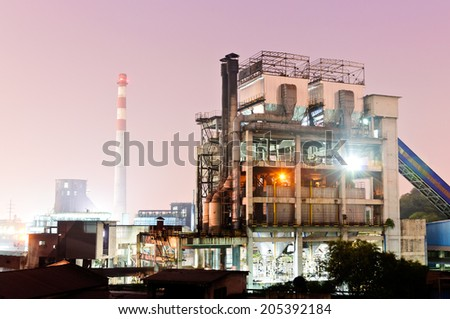 Chinese steelworks Industrial building at night