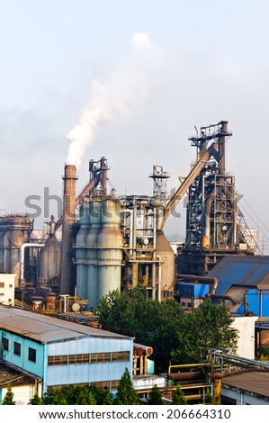 Chinese steelworks smoke pollution - stock photo