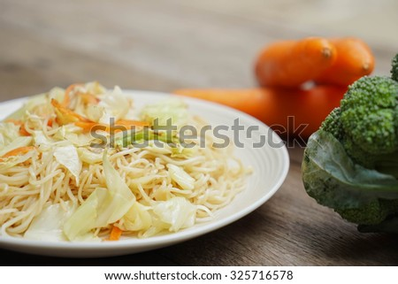 chinese stir-fried noodles with vegetable