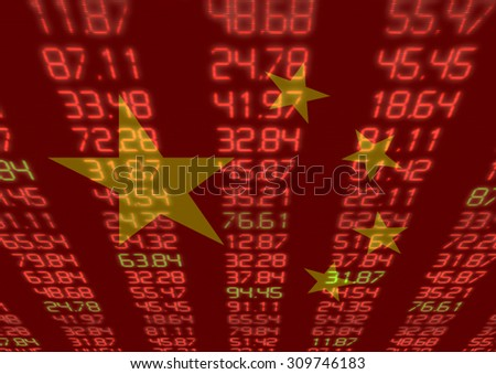 Chinese Stock Market - Red and Green Figures with  flag in background