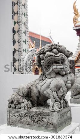Chinese Stone Lion in Wat Phra Kaew - stock photo