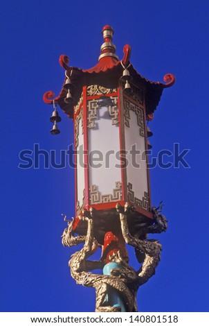 Chinese street lamp  in San Francisco's Chinatown, San Francisco, California - stock photo