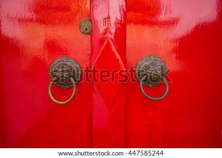 Chinese style door grip  Red door - stock photo