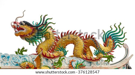 Chinese-style dragon statue isolate on white background